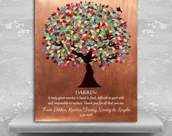 Mentor Gift Colorful Tree Faux Copper Artwork Personalized Thank You Retirement Teacher Custom Paper Canvas Metal Print 1408