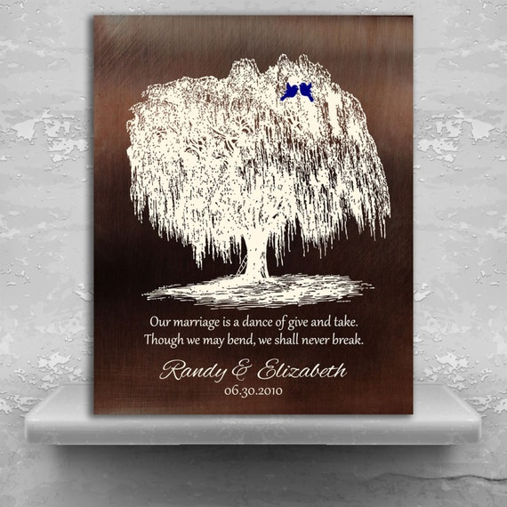 9th Year Anniversary Gift Ideas Personalized Willow Tree Faux Bronze Gift For Couple Custom Art Print Paper Canvas Or Metal 1380