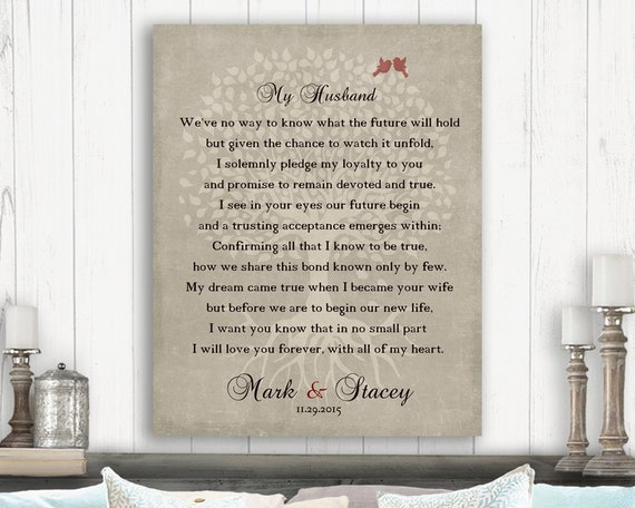 Gift For Husband On Wedding Day From Wife Pledge My Love Poem Etsy
