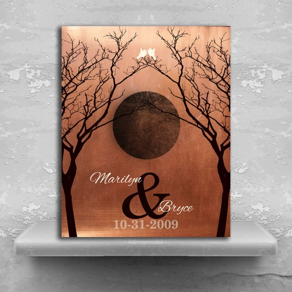 7 Year Anniversary Gift Idea Full Moon Faux Copper Etsy