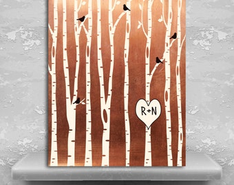 7 Year Anniversary Gift, Birch Tree Forest, Wedding Gift, Faux Copper Gift, Personalized Gift, Metal, Paper, Canvas Custom Art Print 1428