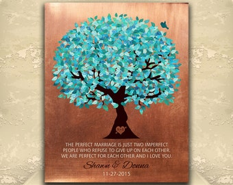 7 Year Anniversary, Copper Gift, Turquoise Tree, Personalized Gift, Perfect Marriage, Custom Aluminum Metal, Paper, Canvas Art Print 1172