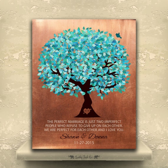 7 Year Anniversary Copper Gift Turquoise Tree Personalized Gift Perfect Marriage Custom Aluminum Metal Paper Canvas Art Print 1172