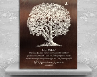 Mentor Gift Ideas, Large Oak Tree, Great Mentor Gift, Preceptor Gift, Mentor Quote, Custom Art Print on Paper, Canvas or Metal Plaque 1397