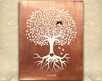 7 Year Anniversary, Personalized Gift, Minimalist, Copper Anniversary Gift, Tree with Roots, 22nd Anniversary Gift, Custom Art Print #1196