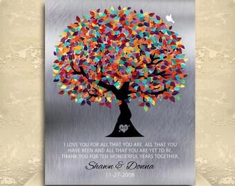 Tin Anniversary Gift Personalized Family Tree Faux Tin Background 10 Year Anniversary Gift Wedding Tree Custom Metal Art Print #1211