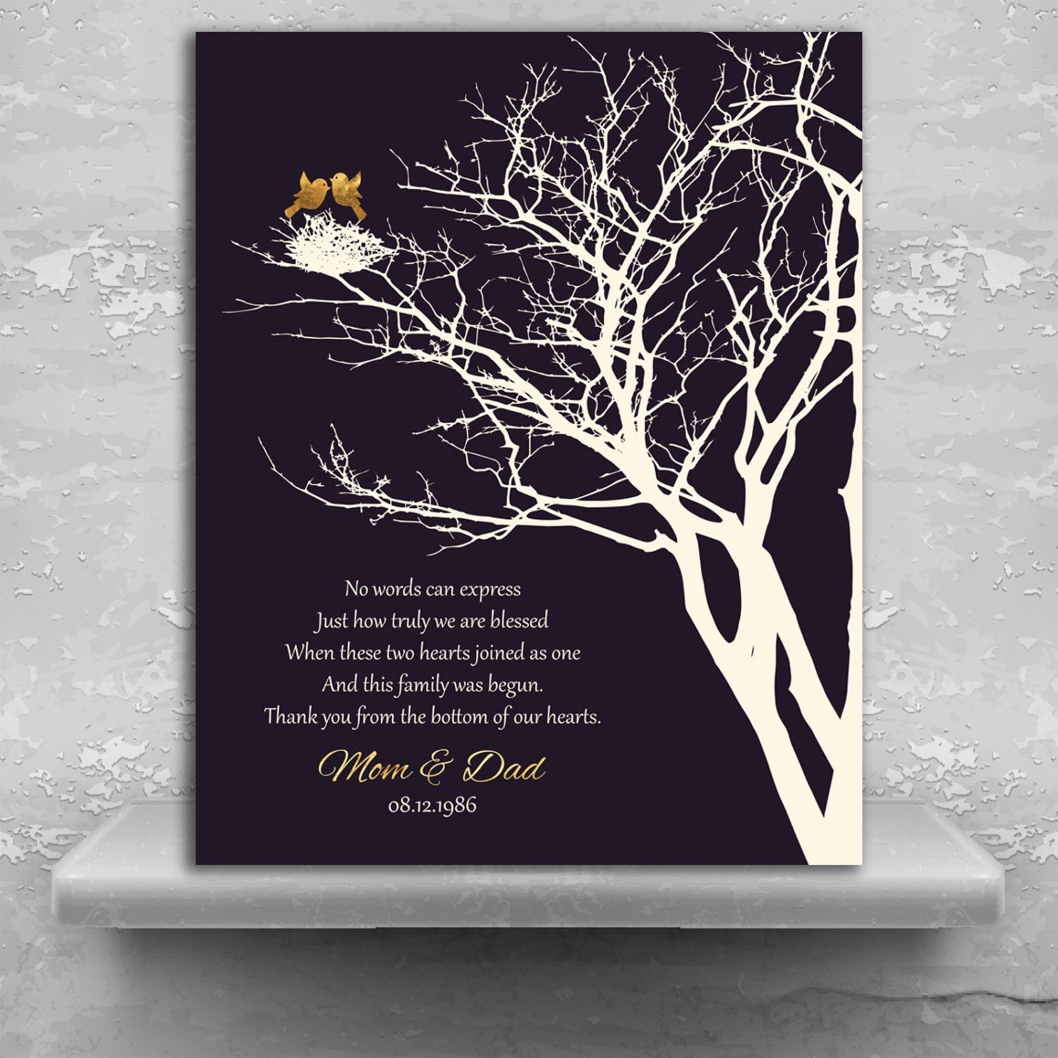 50th Golden Anniversary Personalized Family Wedding Tree Gift Etsy