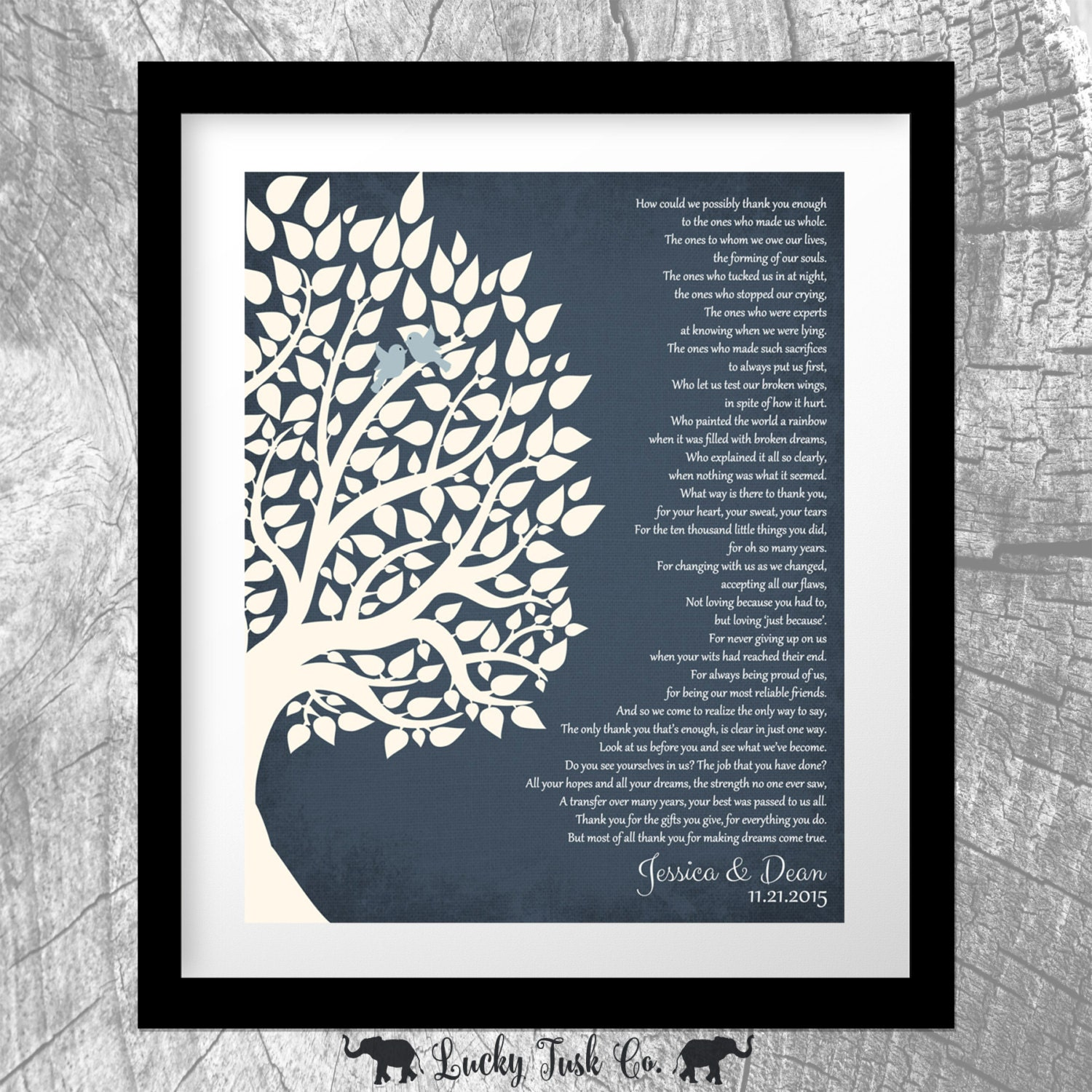 Gift For Parents Wedding Tree Personalized Thank You Gift To Etsy