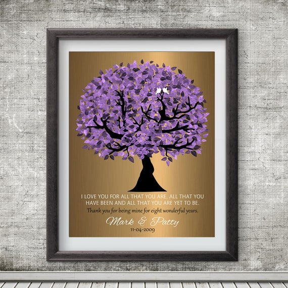 Personalized Wedding Gifts Canada: 8 Year Anniversary Personalized Wedding Tree Gift Faux