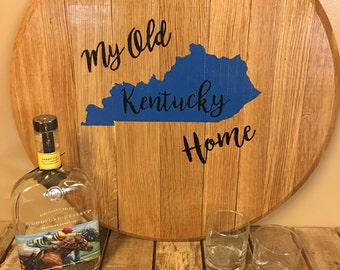 Hand Painted My Old Kentucky Home Bourbon Barrel Head