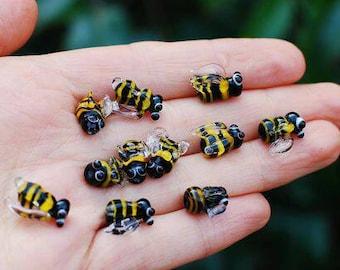 Bee beads, Set of lampwork bee beads, glass bumble bee, lampwork beads set, insects beads, bee beads, honey bee murano glass, glass bees