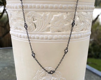 Solitaire CZ oxidized choker sterling silver