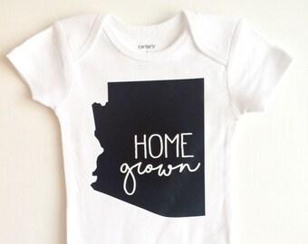 Home Grown ONESIE ®, Baby Bodysuit, Arizona Baby, AZ Baby, State onesie, Home onesie,  Cute Baby ONESIE ®, Trendy Baby