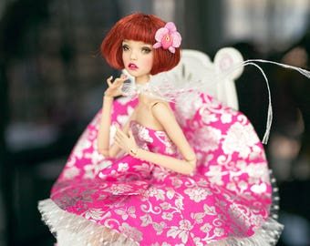 Pink dress for popovy sister doll , tender creation doll , fashion doll 16 same size