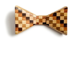 Checkered Wooden Bow Tie