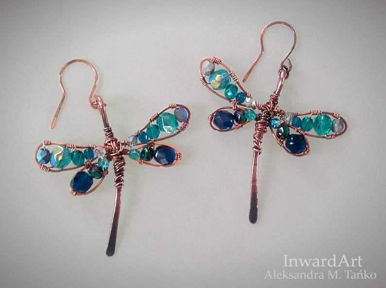 boho hippie jewelry Wire wrapped copper dragonflies earrings with sparkling blue /& turquoise crystals unique artistic jewelry finesse