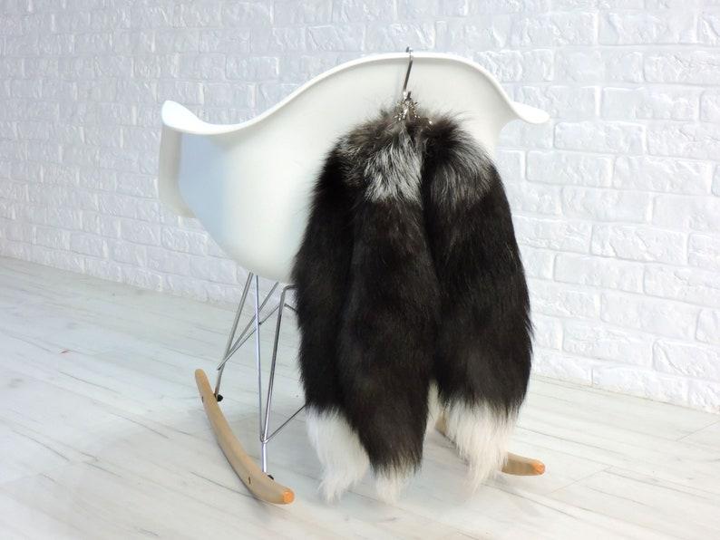 Genuine Silver Fox Tail Keychain Ring Bag Charm Keyring 2 Keychains Real Giant  Silver Fox Fur Tails Fur Keychain 20 Long Keyring