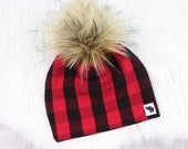 Red and Black Buffalo Plaid Pom Beanie Lumberjack Baby Beanie Fall Baby Beanie Pom Pom Beanie Faux Fur Pom Beanie Pom Pom Hat
