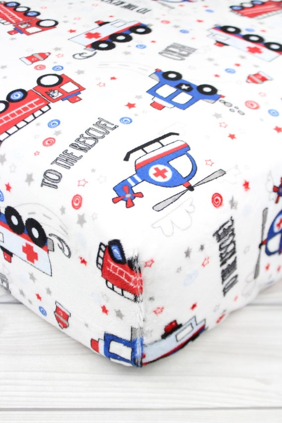 Emergency Vehicles Minky Crib Sheet Or Changing Pad Cover Etsy