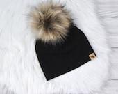 Black Pom Beanie Neutral Baby Beanie Baby Beanie Toddler Beanie Newborn Beanie Black Beanie Winter Cold Weather Hat