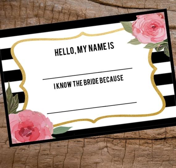 bridal shower name tag printable name tag avery name badge etsy