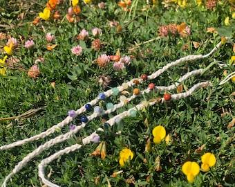 7 chakra crochet anklet, boho anklet, gemstone jewelry, crystal bracelet, crystal healing.