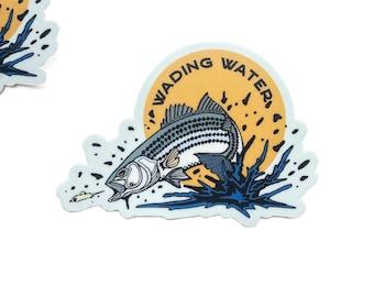 Striped bass sticker, die cut striper sticker, striped bass decal, striper vinyl sticker, waterproof sticker