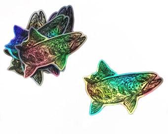 Trout sticker, holographic sticker, fly fishing sticker, die cut sticker, trout decal, trout vinyl sticker, waterproof sticker