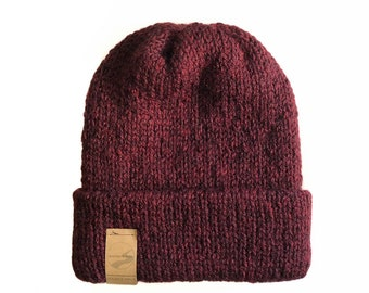 The Double Haul beanie   folded, double thick knit hat, double knit beanie with fold up brim