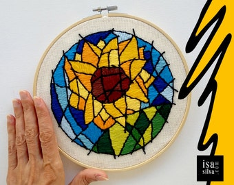 Embroidery Hoop Art-sunflower/sunflower-embroidery with backstage-flower-Flower