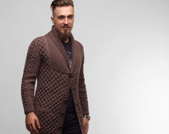 Knit Cardigan, Knitted Cardigan, Long Cardigan, Men's Cardigan, Cable Knit Cardigan, Wool Cardigan, Men's Fashion, Gift For Him