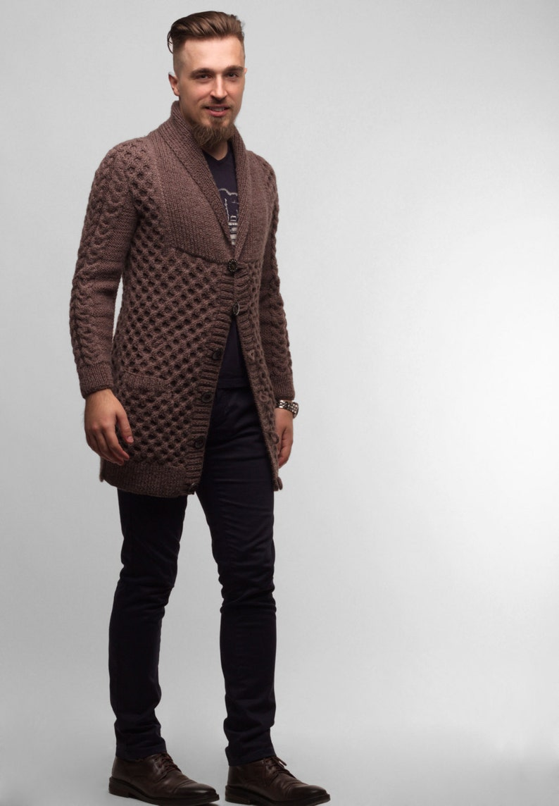 671b8bfdbcc Knit Cardigan, Knitted Cardigan, Long Cardigan, Men's Cardigan, Cable Knit  Cardigan, Wool Cardigan, Men's Fashion, Gift For Him