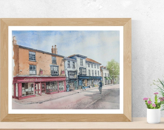 Wall art print of Tring High Street, Hertfordshire, England, UK, watercolour and pen