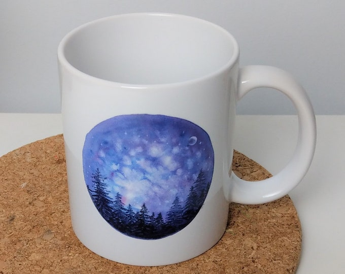 Watercolour alpine starry sky mug