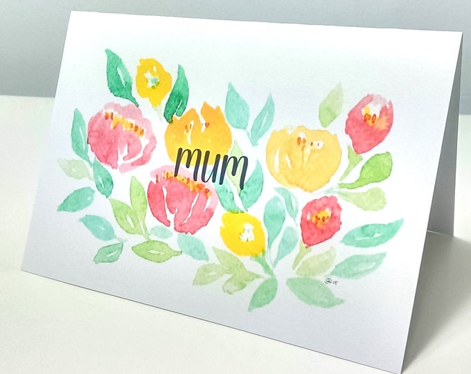 Floral watercolour Mum card, Birthday, floral, flowers, spring, Easter, blank inside, Mothers day card