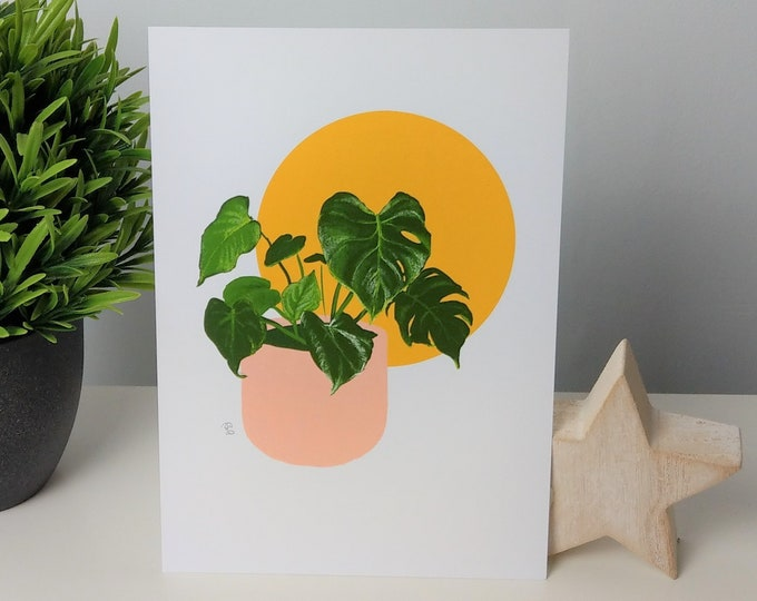 Yellow moon Monstera/ Swiss Cheese houseplant print
