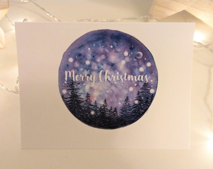 Snowy starry sky Merry Christmas card