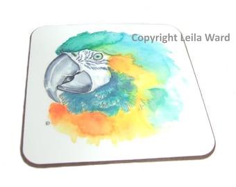 Parrot coaster watercolour