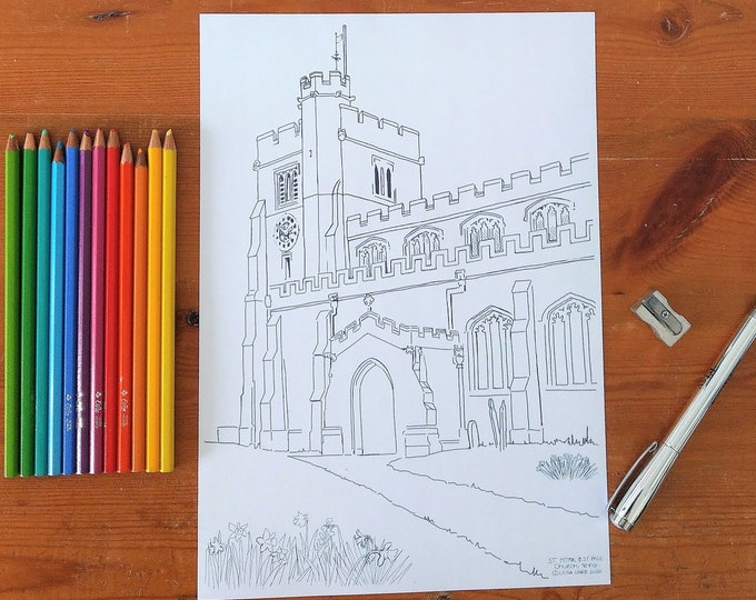 Spring colouring page, English church, Tring, Hertfordshire, British scene, Spring daffodils, Digital download, print at home