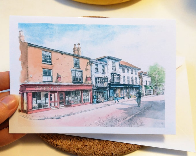Tring High Street card, watercolour, English street scene, Hertfordshire, any occasion, blank inside