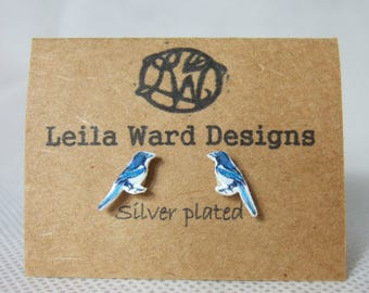 Earrings birds studs magpie
