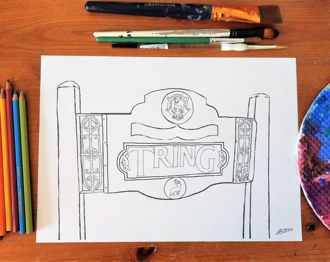 Tring town sign colouring page, Hertfordshire, digital download, print at home colouring page, creative craft, England