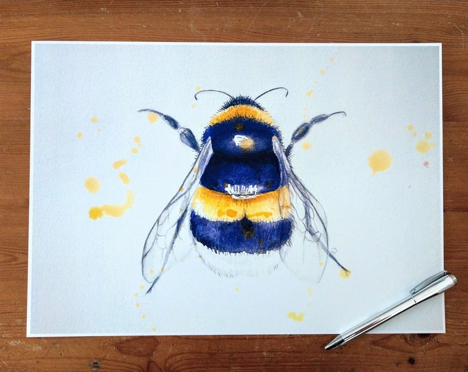 A3 Bumble bee painting print, wall art, watercolour bee picture, british artist, home decor