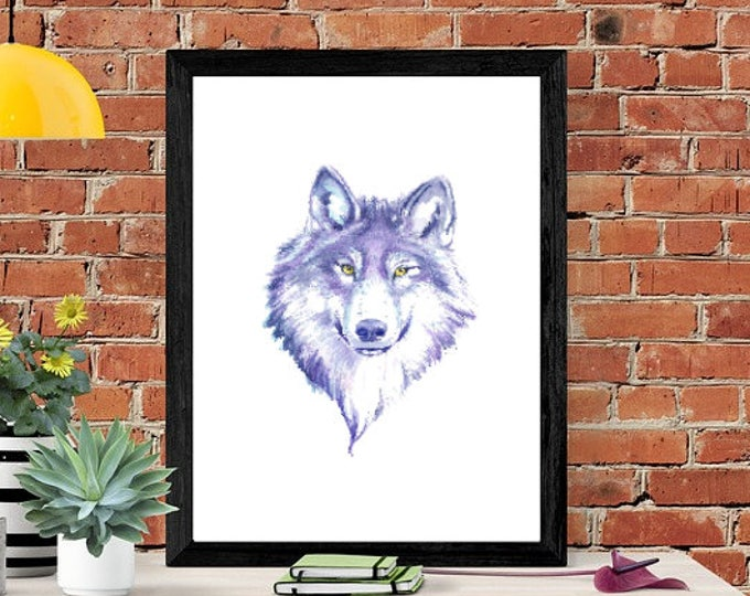 Wolf watercolour print