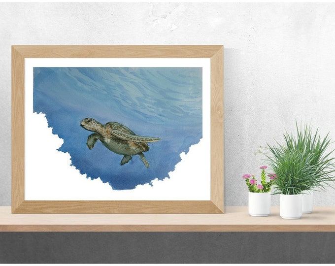 Watercolour Sea turtle painting, ocean wildlife painting, nature, picture, print A4 original art, wall art