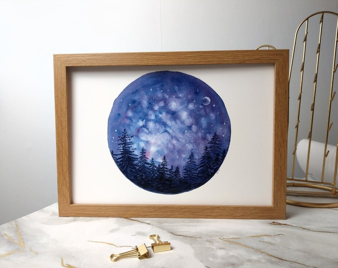 Watercolour starry night sky pine print