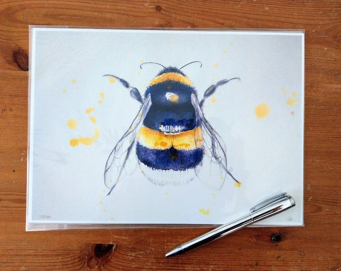 Limited edition Bumble bee watercolour print, wall art, nature, bumble bee picture, home decor.