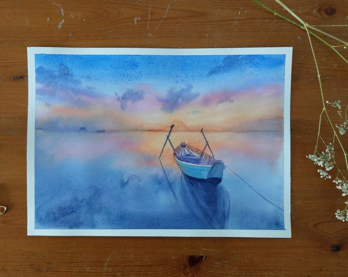 Vietnam sunset watercolour original painting art