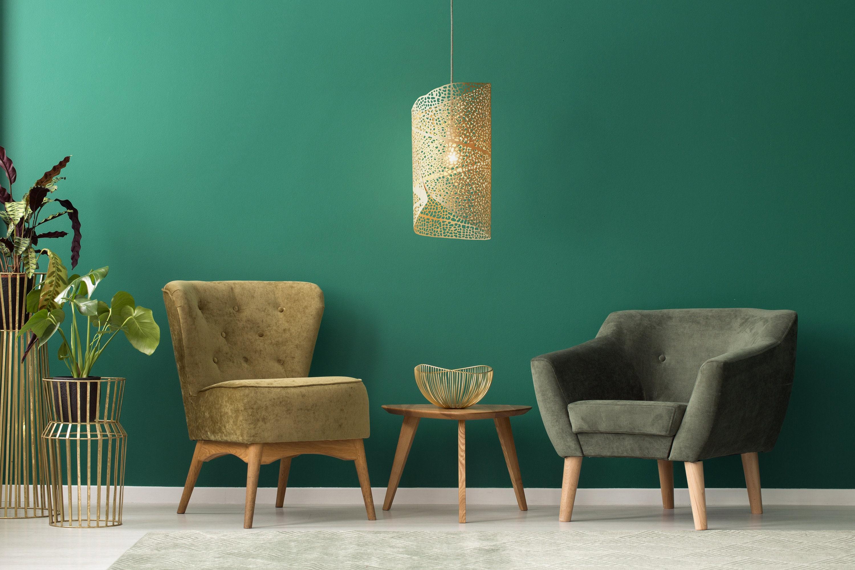 Pendant Lamp 'Filigrana Nº1' Size Medium, Natural Birch Wood, leaf pattern  projecting light, laser-cut in ultra thin plywood