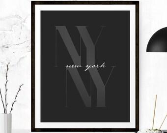 New York City Print, New York City Poster, NYC Print, Travel Poster, Typography Poster, NYC Poster, New York City, Minimalist Printable Art